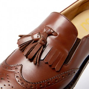 Women's Maroon Tassels Round Toe Hollow Out Vintage shoes