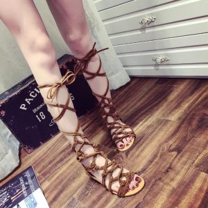Women's Brown Open Toe  Flats Strappy Sandals