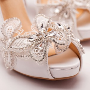 White Satin Wedding Heels Lace Rhinestone Pumps