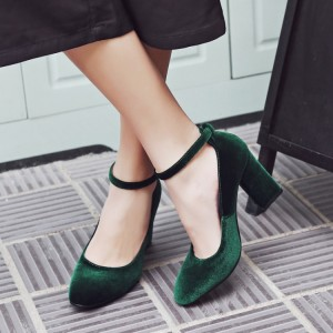 Dark Green Ankle Strap Heels Suede Vintage Block Heel Pumps
