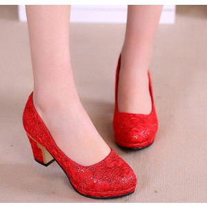Women's  Red Lace Floral-printed Round Toe Chunky Heel Bridal Shoes