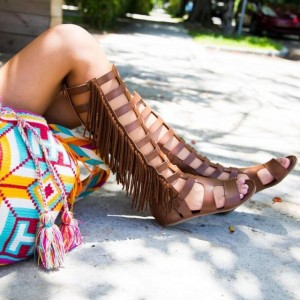 Women's Brown Strappy Fringe Flats Gladiator Sandals