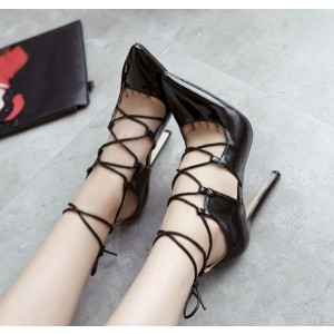 Black Pointy Toe Lace up Stiletto Heels Strappy Pumps Sexy Shoes