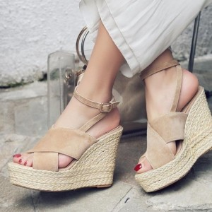 Women's Khaki Wedge Sandals Ankle Strap Peep Toe Platform Shoes