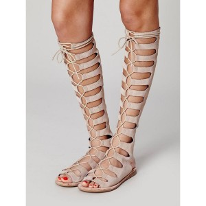 Women's Nude Knee-high Lace-up Suede Flat Gladiator Sandals