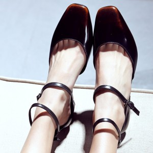 Women's Brown Patent Leather Ankle Straps & Mary Jane Chunky Vintage Heels