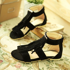 Women's Black Suede Tassels Rivets  Flat Vintage Sandals