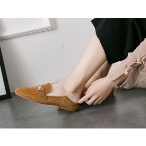 Women's Khaki Square Toe Comfortable Flats Vintage Shoes