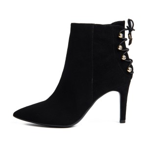 Black Stiletto Heels Suede Pointy Toe  Ankle Booties with Studs