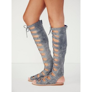 Grey Gladiator Sandals Knee-high Lace-up Flats