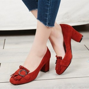 Red Vintage Heels Suede Shoes Fringe Chunky Heel Pumps
