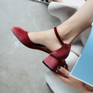 Women's Red Suede Ankle Straps Chunky Heels Vintage Shoes