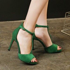 Green Studs Shoes T Strap Suede Peep Toe Stiletto Heel Sandals