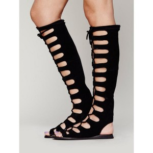 Women's Black Knee-high Suede Flat Gladiator Sandals