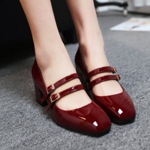 Women's Burgundy Mary Jane Patent Leather Vintage Heels