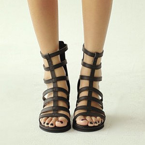 Women's Black Chunky Heel Gladiator Sandals