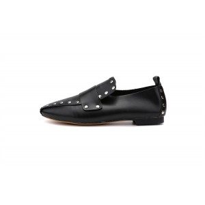 Black Vintage Shoes Square Toe Comfortable Studded Flats