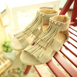 Women's Brown Suede Rivets Comfortable Fringe Sandals