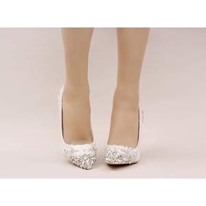 Women's White Glitter Rhinestone Pointed Toe Wedding Heels