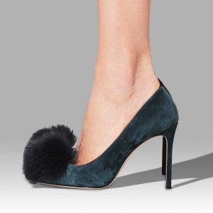 Teal Suede Pom Pom Stiletto Heels Pointed Toe Pumps