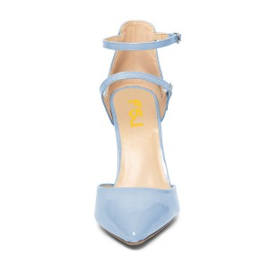 Women's Light Blue Stiletto Heels Patent Leather Pointed Toe Ankle Strap Sandals