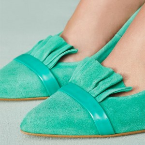 Turqouise Kitten Heels Pointy Toe Suede Comfortable Shoes