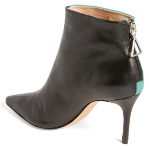 Turquoise and Black Contrast Stiletto Heel Ankle Booties