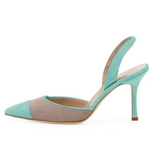 Turquoise and Taupe Pointy Toe Spool Heel Slingback Pumps