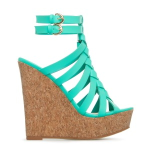 Turquoise Knit Ankle Strap Slingback Platform Wedge Sandals
