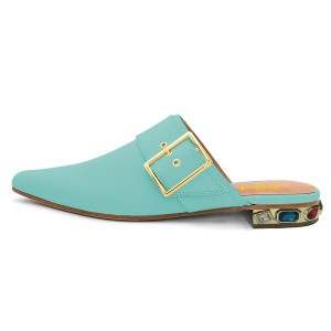 Turquoise Buckle Mule Trendy Flats