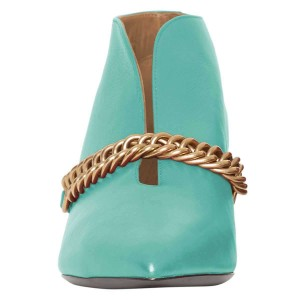 Turquoise Chains Cone Heel Kitten Heel Fashion Boots
