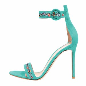 Women's Turquoise Flower Stiletto Heel Ankle Strap Sandals