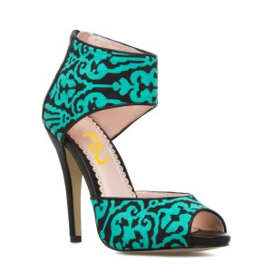 Floral Print Turquise Heels Peep Toe Cut out Pumps US Size 3-15