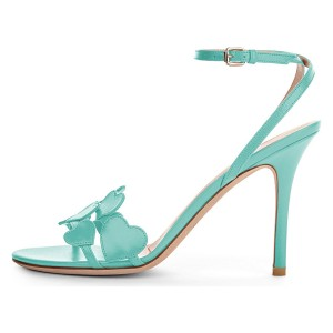 Cyan Heart Ankle Strap Sandals Stiletto Heels Slingback Sandals