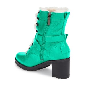 Turquoise Combat Boots Lace up Chunky Heels for Winter