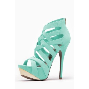 Women's Cyan Open Toe Back Zipper Hollow Out Stiletto Heels Sandals