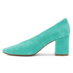 Turquoise Suede Basic Pumps Block Heels