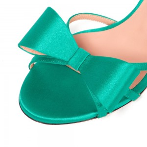 Turquoise Satin Bow Stiletto Heels Sandals