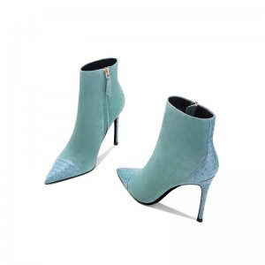 Turquoise Suede Boots Stiletto Heel Pointy Toe Ankle Boots