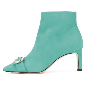 Turquoise Suede Buckle Chunky Heel Ankle Booties