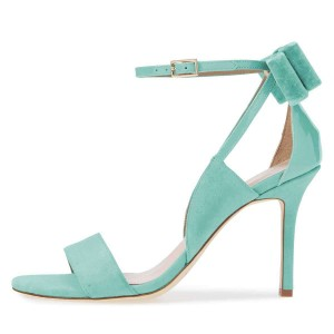 Turquoise Suede Patent Leather Velvet Bow Ankle Strap Heels Sandals