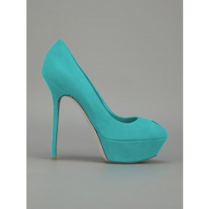 Turquoise Heels Suede Shoes Stiletto Heel Platform Pumps for Women