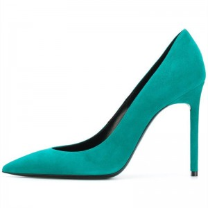 Turquoise Suede Pointy Toe Stiletto Heels Pumps Office Shoes