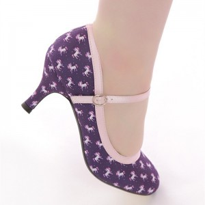 Unicorn Print Mary Jane Pumps Vintage Style Floral Heels