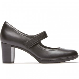 Velcro Strap Mary Jane Pumps Chunky Heels Office Shoes