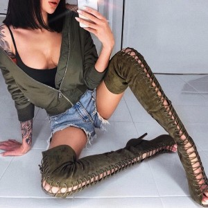 Dark Green Stiletto Heel Thigh High Lace up Boots
