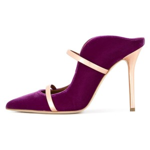 Violet and Gold Double Straps Stiletto Heel Mules