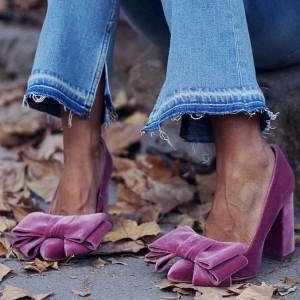Violet Bow Chunky Heels Pumps