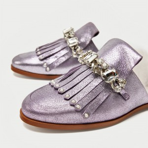 Violet Glitter Fringe Crystal Flat Furry Mule Loafers for Women