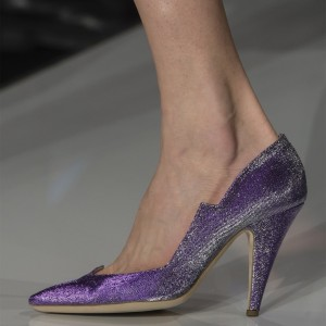Violet Low Cut Upper Cone Heel Pumps Sparkly Shoes